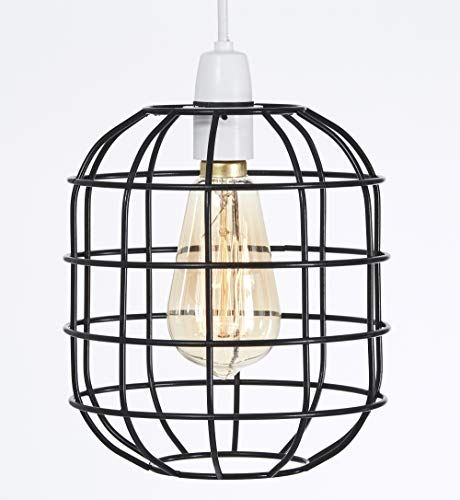 Funky Anhänger Beleuchtung (Klein Retro Stil Käfig Licht Anhänger Metall Licht Schatten, Funky Modern Rustikal Rustikal Industrial Vintage Look, Lampenschirm - schwarz)