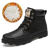 Jiuyue-shoes, Herren Stiefeletten, Feinste Qualität Echtes Leder Winter Warme Stiefeletten,2018 Herren Stiefel (Color : Warm Black, Größe : 47 EU)