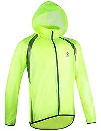 gwell Fácil bicicleta chaqueta Chubasquero Impermeable resistente al viento transpirable para hombre, color verde, tamaño EU XL (Tag 2XL)