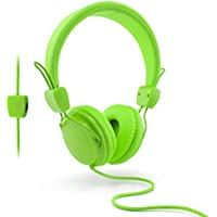 Lightweight Kids Headphones by Urbanz, Colourful On-Ear Stereo Headset with Volume Control (Green)