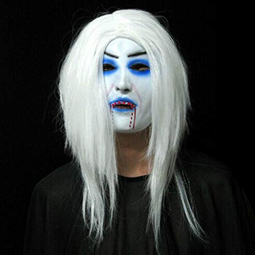 LLKOZZ Halloween Maske/Scary Latex Fear Gesichtsmaske/White Hair Bleeding Mask/Halloween Woman - Scary White Lady Kostüm