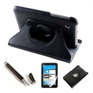 kwmobile 3in1 Set: Hülle 360° für Samsung Galaxy Tab 2 7.0 Case mit Ständer - Schutzhülle Tablet Tasche mit Standfunktion in Schwarz + Folie, kristallklar + Stylus, Schwarz