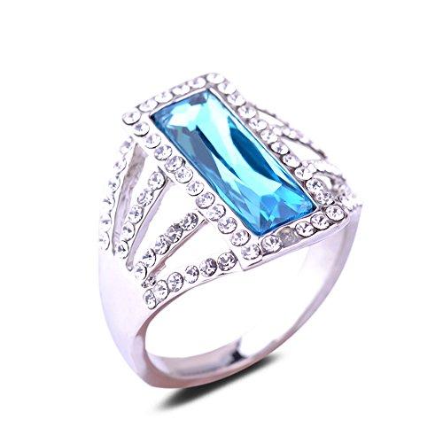 Yazilind Rechteck, runder Schnitt, Blauer Zirkonia, klarer Kristall, Weißgold-plattierte Legierung, großer 18,8-Ring