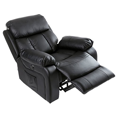 CHESTER ELECTRIC HEATED LEATHER MASSAGE RECLINER CHAIR SOFA GAMING HOME ARMCHAIR (Black)