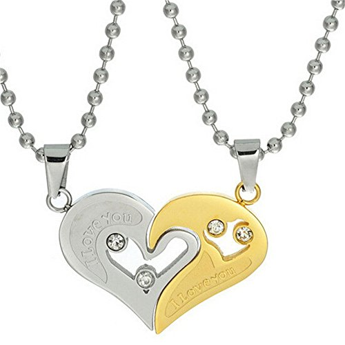 Uloveido Ein Paar Edelstahlpaare Halskette Halbes Herz Anhänger Ich Liebe Dich Halskette für Männer und Frauen (Gold) SN102 (Ich Liebe Dich-armband Männer)