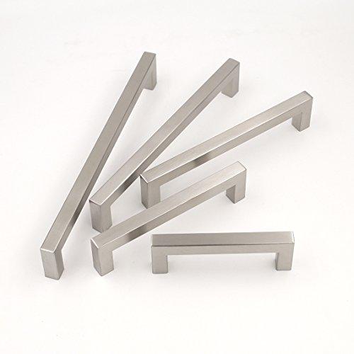 Goldenwarm, maniglia per mobili, in acciaio inossidabile spazzolato, maniglia armadio/cassetto, armadio cucina, spessore 12mm x 12mm