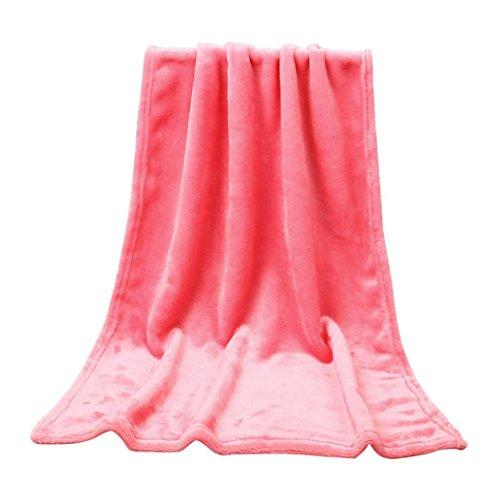 50X70CM Mode Solide Weiche Werfen Kinder Decke VENMO Warme Korallen Plaid Decken Flanell Kuscheldecke Flanell Decke für Zuhause, Reise, Polyester Microfaser, Falten-Beständig, Anti-Verfärben (Watermelon Red) (Rose-eisen-bett)