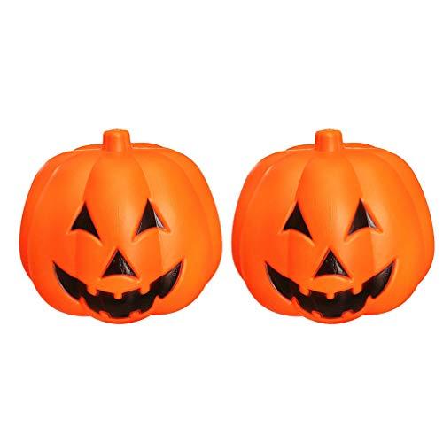 Mobestech 2 stücke kürbis lampen stimme aktiviert jack o laterne halloween lampe dekoration requisiten ohne batterie 25 cm (orange) - Orange-akzent-lampe