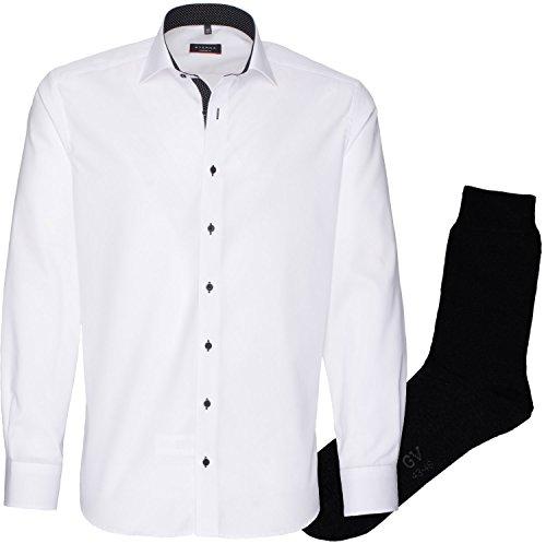ETERNA Herrenhemd Modern Fit, weiß, Fein Oxford + 1 Paar hochwertige Socken, Bundle Weiß