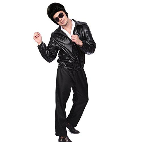 50s Fett, schwarz, im Leder Look Tasche für Jacke mit gesticktem Logo Danny Vogel-T - Kostüm