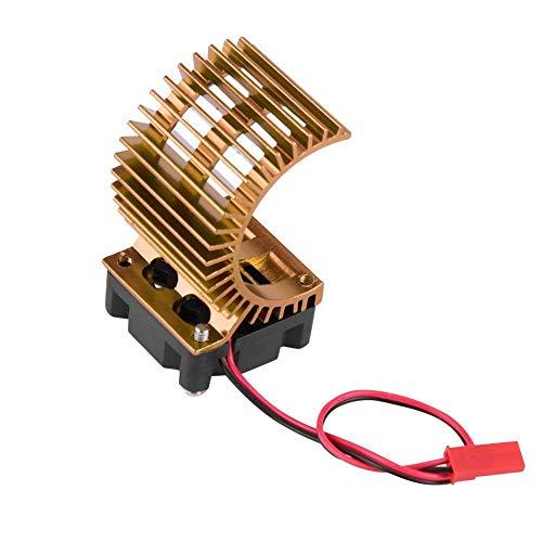Dilwe RC-Motor Kühlkörper, Kühlkörper mit Lüfter für 1/10 Elektro-RC-Motor mit 540/550-Motor( Gold) (5 Scale Motoren Rc 1)