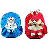 Blue Tree Soft Material School Bag for Kids Plush Backpack Cartoon Toy   Children's Gifts Boy/Girl/Baby/ Decor School Bag for Kids(Age 2 to 6 Year) (Doremn&RABIT)