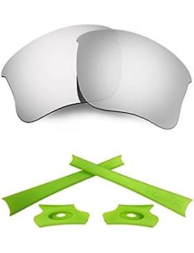 HKUCO For Oakley Flak Jacket XLJ Silver Polarized Replacement Lenses And Light Green Earsocks Rubber Kit