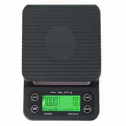 MUHWA 3kg/0.1g Küchenwaage mit Timer,Tragbare elektronische Waagen schwarz Hohe Präzision LCD Digital Display Küchenwaage - Elektronische Waage Lcd