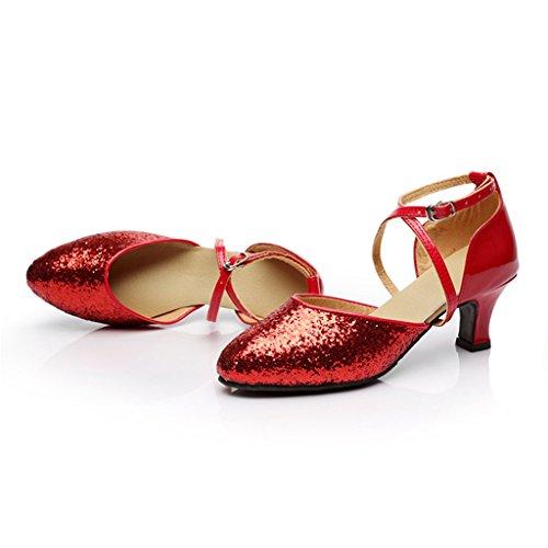 Meijili , Damen Tanzschuhe Rot