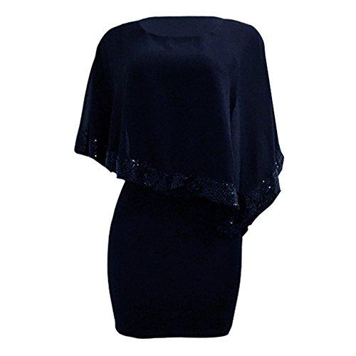 Damen Kleider Glitzer Bolero Paillettenkleid - Hibote O Ausschnitt Patchwork Damenkleid Knie Lang Abendkleid Party Kleid Casual Elegant Arbeit Büro Kleider - 4
