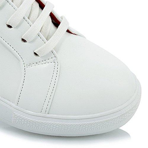 AgooLar Femme Pu Cuir Couleurs Mélangées Lacet Rond à Talon Correct Chaussures Légeres Rouge
