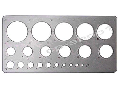 Kreisschablone / Lochschablone -- klar/transparent -- 1-36 mm - hochwertig u. stabil -- B-Ware (Template, Kreis, Schablone)