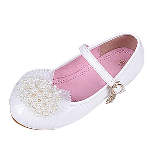 Ankle Strap Flat (Zhuhaitf Kinder Pearls Flowers Decor Non-Slip Soft Sole Flat Sandals PU Leather Ankle Strap Ballerina Shoes für Girls Full Size)