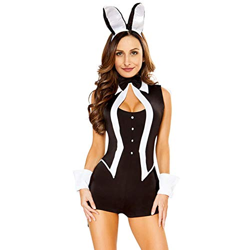 Frauen Erwachsene Party Tuxedo Bunny Rabbit Playboy Halloween Kostüm Fancy Dress Tunika Kleid