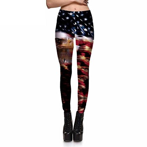 Ting American Flag & Eagle Leggings Pants Elastic Ping