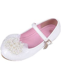 Zhhlinyuan Sweet Chicas Breathable Non-slip Princess Shoes 2 Colors Kids Fashion Beads Floral Flat Single Shoes