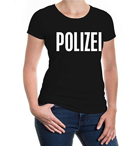 buXsbaum® Damen Kurzarm Girlie T-Shirt bedruckt POLIZEI | Staatsverwaltung Notfall Polizist | XXL black-white (Kostüme Dame Polizist)