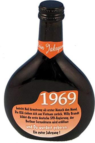 QUATSCHmanufaktur Bocksbeutel zum 50. Geburtstag (für Jahrgang 1969) Rotwein 0,25 l