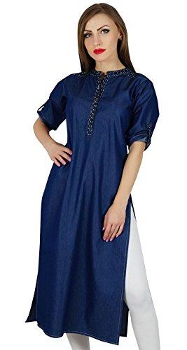 Bimba Frauen Denim Blue kurti 3/4 Ärmel lässig kurta gerade Tunikabluse Blau