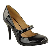Fashion Thirsty LADIES WOMENS LOW MID HIGH HEEL ANKLE STRAP COURT SHOES WORK PUMPS SANDALS SIZE (UK 5, Black Patent)