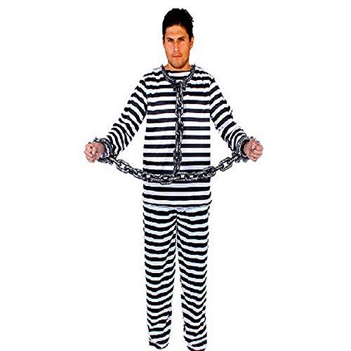 KJH21 Gefangenes Kostüm, Halloween-Party-Kostüm, Cosplay, Gefangenen-Kostüm, Männer/Frauen, Schwarz-Weiß, Gefangener Sträfling, Räuber, Einbrecher, Kostüm, Kostüm, Kostüm, Wie abgebildet, 1#