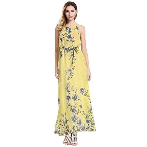 Bekleidung Longra Damen Kleider , damen Ärmelloses Sommerkleid Strandkleider Blumenmuster lang Maxi Kleid mit Taschen (3XL, gelb 07) - Maxi-kleider Für Licht Blau Frauen
