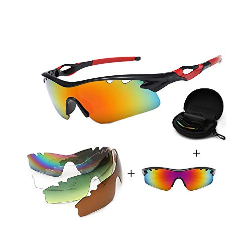 JIGAN Sport-Sonnenbrille, UV 400 Protection Windproof Radsportbrille mit 4 auswechselbaren Gläsern,redCstyle