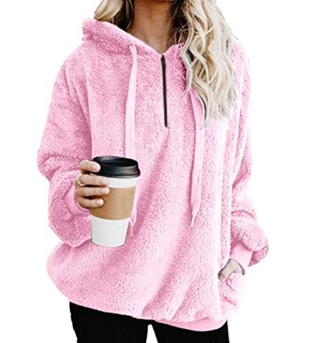 CuteRose Women's Hooded Long-Sleeve Casual Plus Size Wrap Coat Pullover Pink 2XL (Womens Hoodie-xxl Aeropostale)