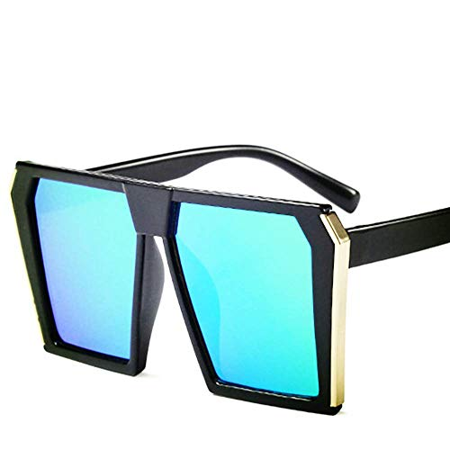Lisa旗舰店 Mode Trend Square Big Box Kinder Sonnenbrille Flut Cool Eye Sonnenbrille für 8-14 Jahre alte Kinder,Green