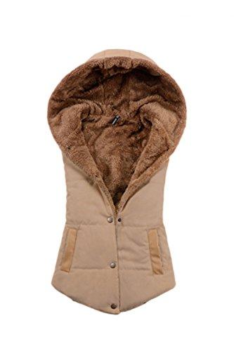 Donna Elegante Cappuccio Senza Maniche Bottoni Spessa Inverno Giacca Imbottita Cappotto Panciotto Khaki