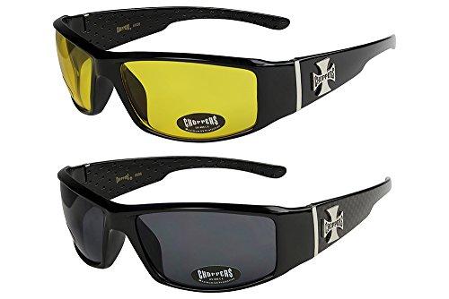 2er Pack Choppers 6608 X0 Sonnenbrillen Herren Damen Männer Frauen Brille - 1x Modell 12 (schwarz glänzend/gelb getönt) und 1x Modell 02 (schwarz glänzend kariert/schwarz getönt) - Modell 12 + 02 -