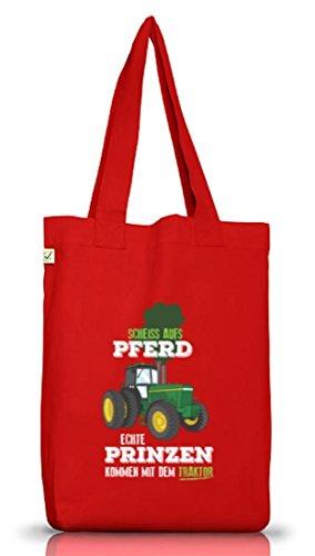 Agricoltore Di Juta Borsa Di Stoffa Di Terra Positiva Con Vero Principe Venuto Con Il Trattore Rosso Di Motivazione