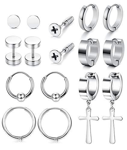 Yadoca 8 Paare Ohrringe für Damen Herren Edelstahl Creolen Mini Punk Clip Antiallergische Modeschmuck Schwarz Ohrringe Black Silver-Tone(Silber-Ton) (Mini Clip Ear)