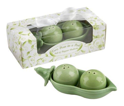 Two Peas in a Pod – Salière et poivrière en céramique dans une boîte cadeau Motif lierre, jardin, pelouse, Entretien