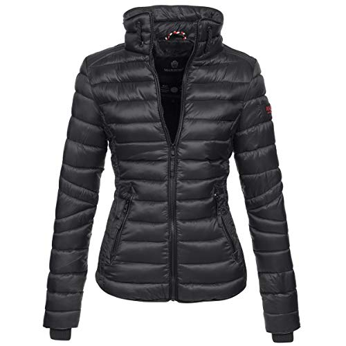 Marikoo Damen Jacke Steppjacke Übergangsjacke gesteppt mit Kordeln Frühjahr Camouflage B405 [B405-Lola-Schwarz-Gr.XS]