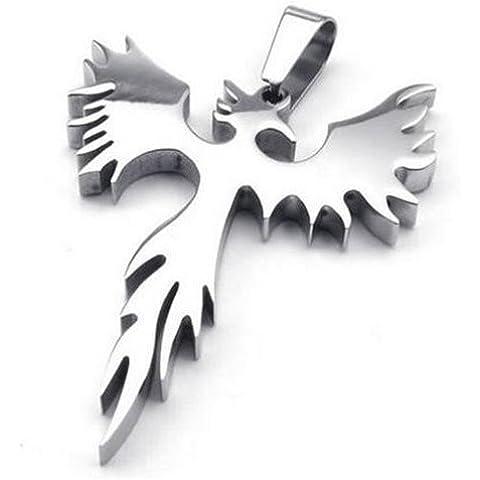 In acciaio inox Phoenix uccello Firebird Biker Mens Collana - Phoenix Firebird