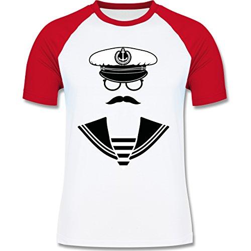Schiffe - Matrose - zweifarbiges Baseballshirt für Männer Weiß/Rot