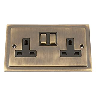 Victorian Anitque Brass 13 Amp Double Socket 2 Gang