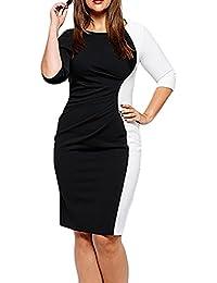 48cb6b674b74 Vestiti Taglie Forti Donna Eleganti Primaverile Abito Estivi Manica 3 4  Rotondo Collo Business Vestito