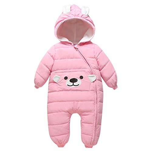 Bebone Baby Schneeanzug Jungen Strampler Mädchen Overall Winter Babykleidung (6-9 Monate, Rosa)