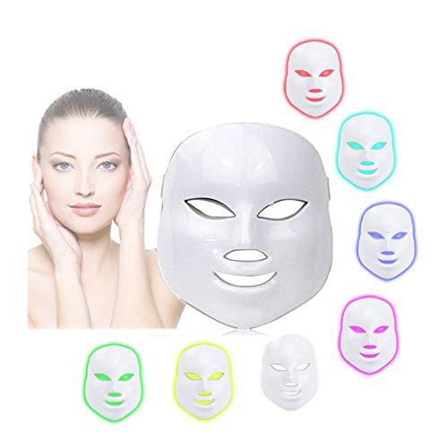 BeautyIncz 3D 7 Farbe LED Maske Instrument Kaltlicht elektronische Maske Instrument Professionelle Schönheit Verjüngung Instrument Therapie Gesichtspflege Maske Gerät Usb Flex Neck