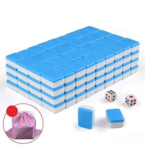 Mahjong Set, Travel Home Mini tragbare 144 Melamin Mahjong, geeignet für Familienfeiern/Gesellschaftsspiele (22 * 17 mm) (Color : Blue) (Kostenloses Solitaire-kartenspiel)