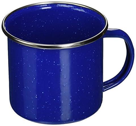 Texsport Tasse à café Mug en émail bleu avec bord en acier inoxydable–Idéal pour le camping, bleu, 360ml (12 oz)