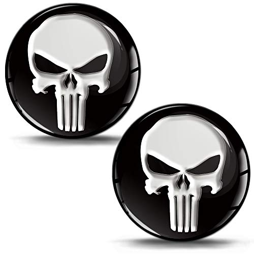 SkinoEu® 2 x Adesivi Resinati 3D Gel Stickers Divertente Punisher Cranio Skull per Auto Moto Finestrìno Porta Casco Scooter Skateboard Bici PC Laptop Tablet Tuning JDM KS 1